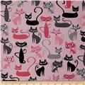 Robert Kaufman Whiskers & Tails Cats Allover Pink