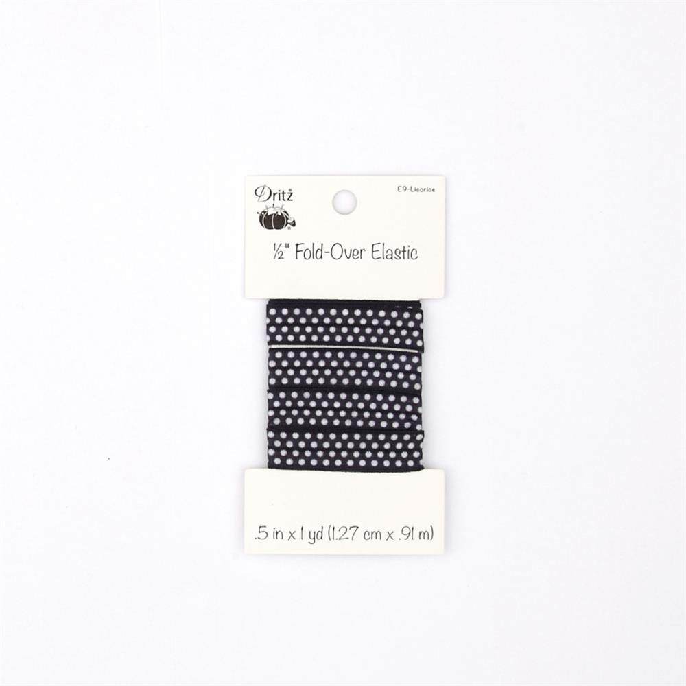 """Small Dots Fold Over Elastic 1/2"""" X 1 yd Licorice"""