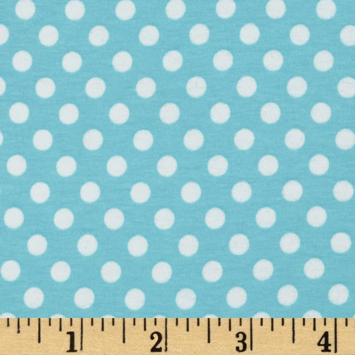 Riley Blake Cotton Jersey Knit Small Dots Aqua