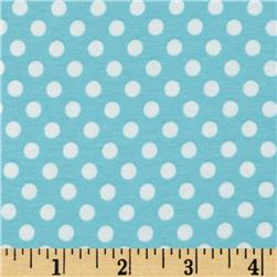 Riley Blake Knit Small Dots Aqua
