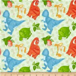 Comfy Flannel Dinosaurs Green