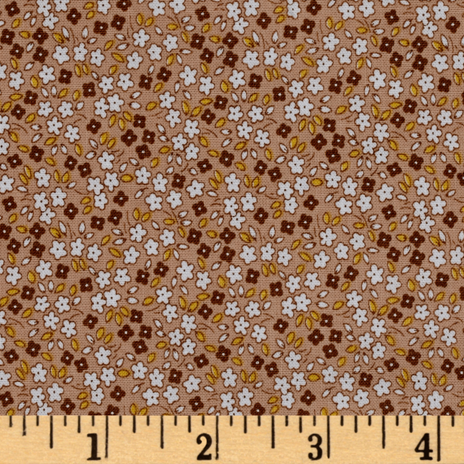 Penny Rose Apple Farm Daisy Brown Fabric by Christensen in USA