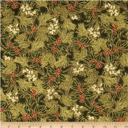 Winter Wishes Pine/Holly Toss Metallic Evergreen/Gold