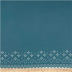 Bubble Crepe Lasercut Border Mineral Blue