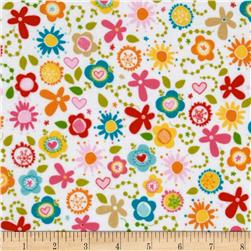 Riley Blake Summer Breeze Flannel Tossed Floral White