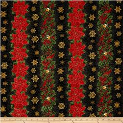 Timeless Treasures Glamourous Holiday 11'' Christmas Stripe Black