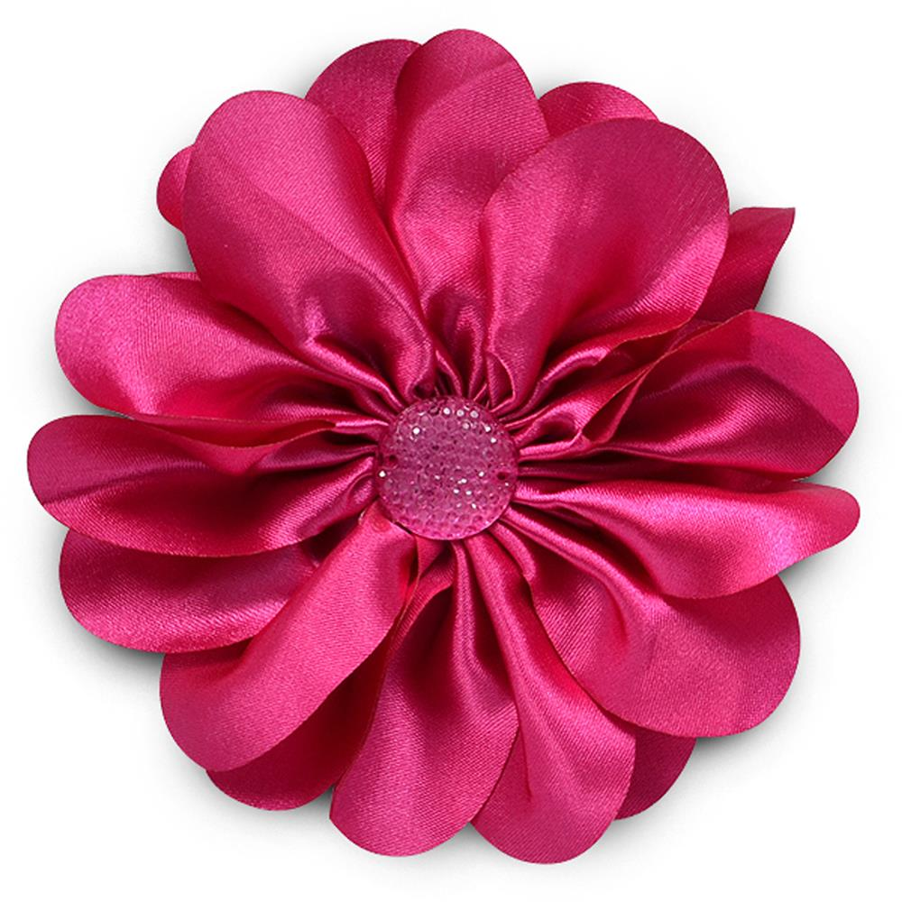 "4-1/2"" Satin Flower Brooch And Hairclip Sparkle Center Fuchsia"