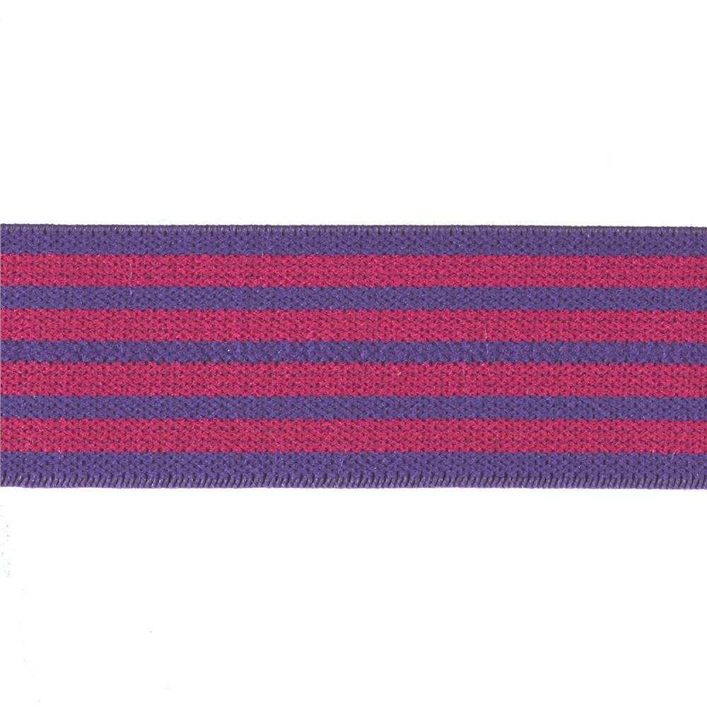 Dritz 1'' x 1 Yard Fold-Over Elastic Stripe Purple/Pink