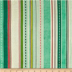 Moda Berry Merry Ribbon Stripe Mint