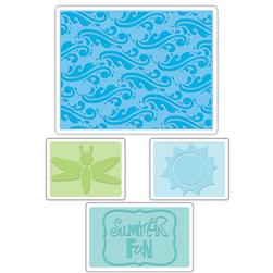 Sizzix Textured Impressions Embossing Folders 4 Pack-Summer Fun Set