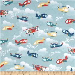 Riley Blake Fly Aweigh Flannel Planes Grey Fabric