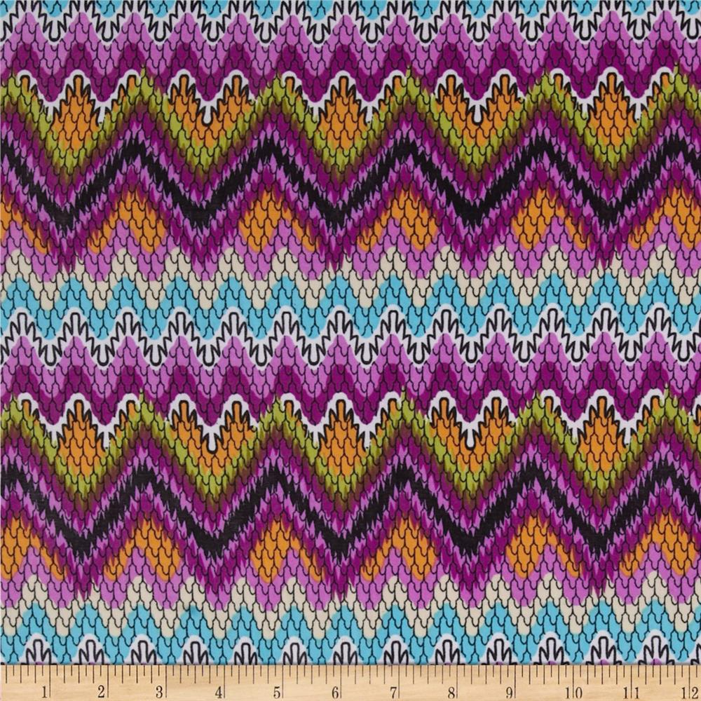 Stretch Jersey ITY Chevron Lilac/Turquoise