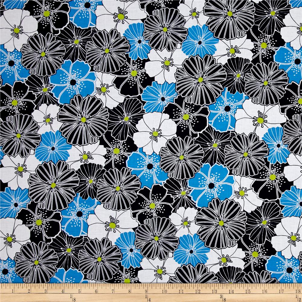 Kanvas Citron Twist Packed Poppies Blue