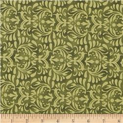 110'' Wide Quilt Backing Floral Olive