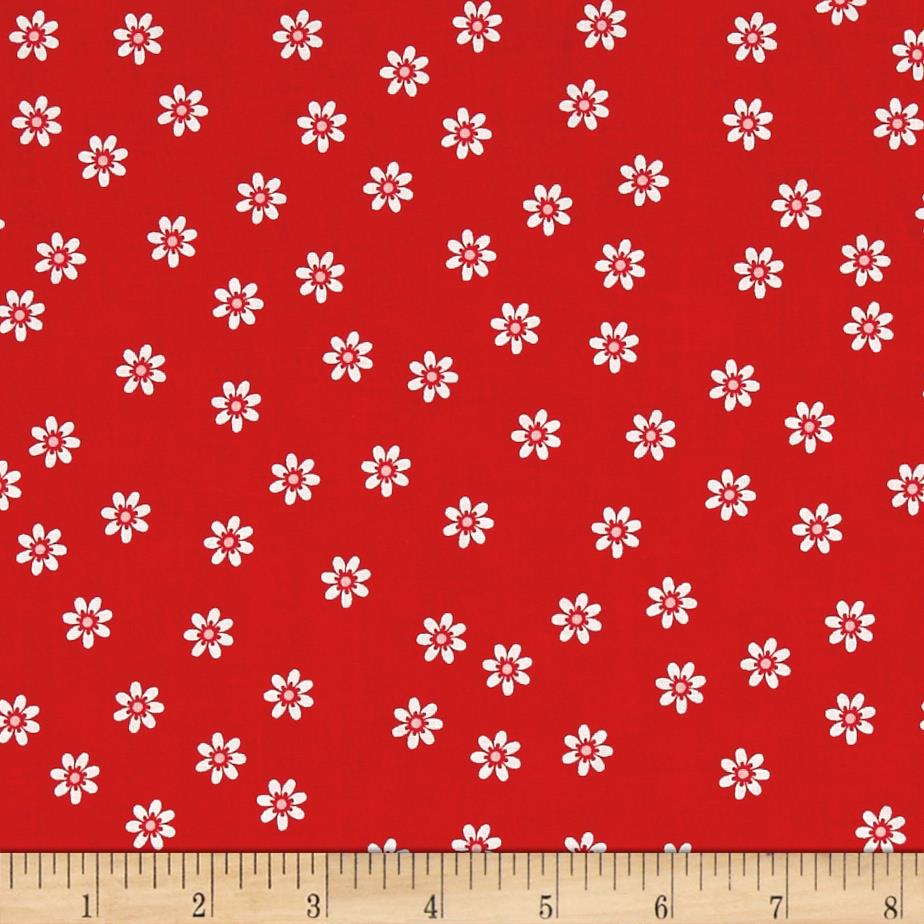 Riley blake sew cherry 2 daisy red discount designer for Cheap sewing fabric