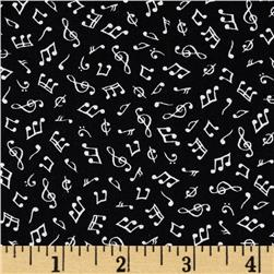 Timeless Treasures Mini Music Notes Black