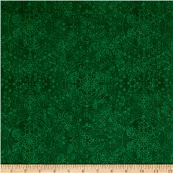 Santa Coming To Town Snowflake Medallions Dark Green