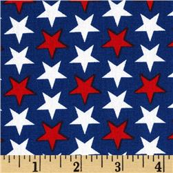 Patriotic Little Stars Blue Fabric