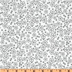 Exclusively Quilters Night and Day Tossed Floral White/Black