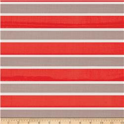 Designer Rayon Challis Stripes Orange/Grey