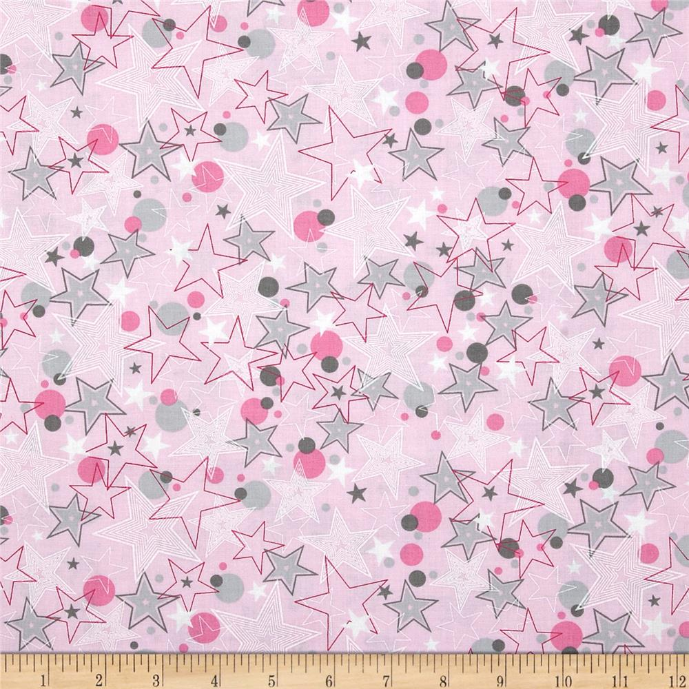 Kanvas all stars all star pink discount designer fabric for Star design fabric