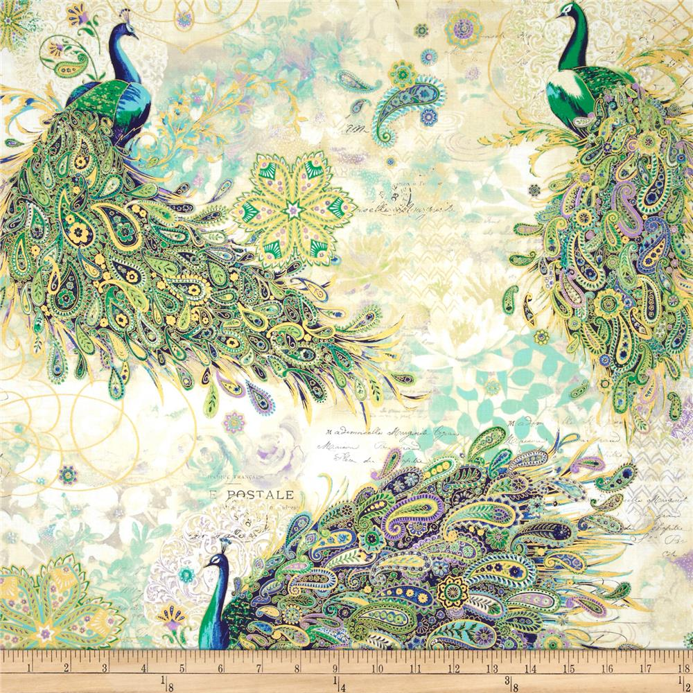 Paisley Peacock Metallic Peacocks Iris/Gold