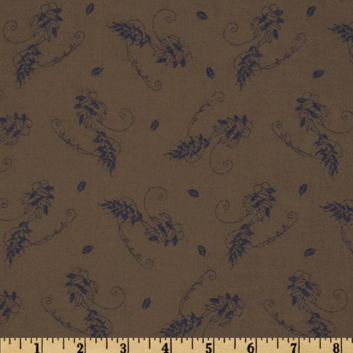 Country Cotton Shirting Floral Cocoa/Navy