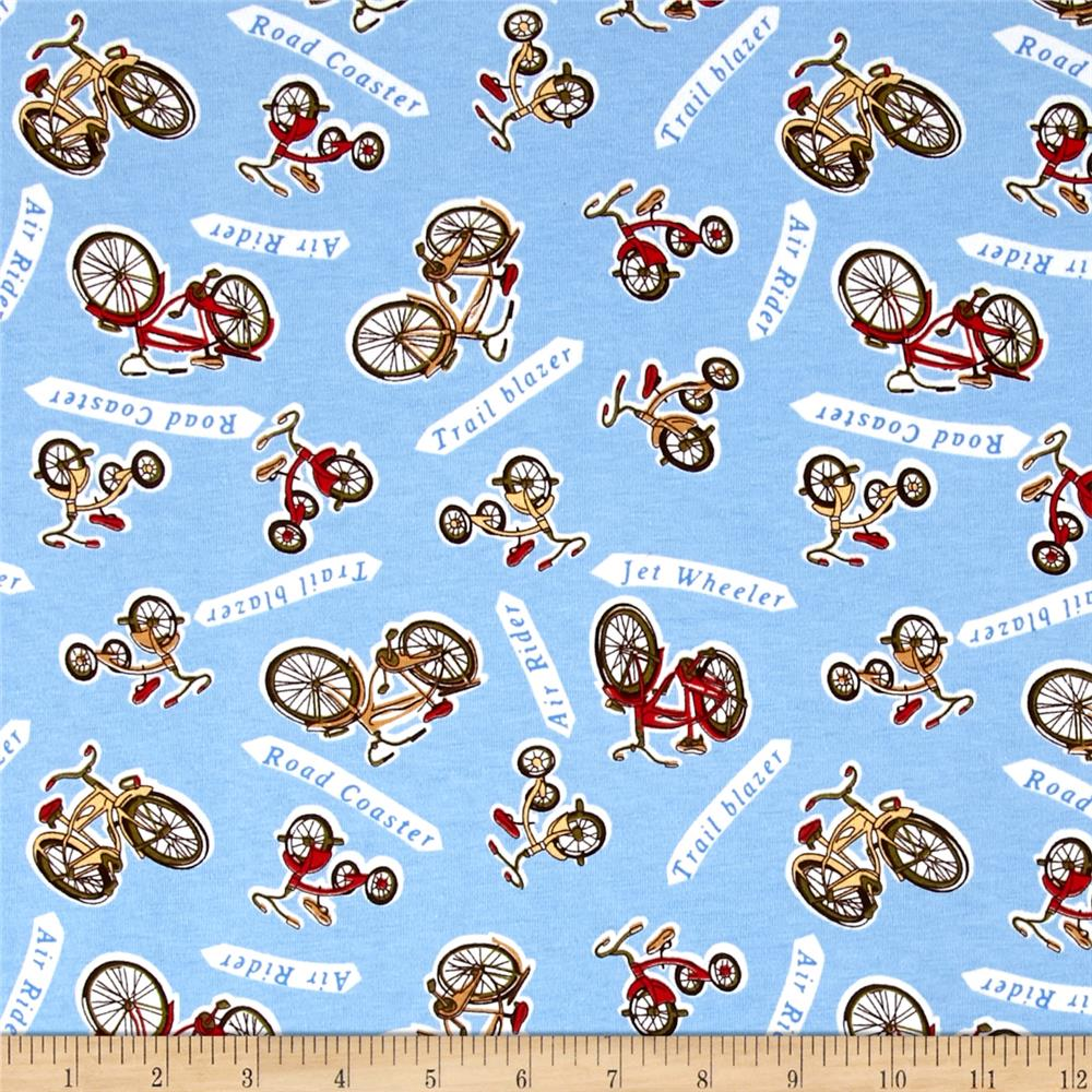 Transportation Cotton Spandex Knit Bike Print