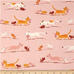 Heather Ross Tiger Lily Marching Cats Pink