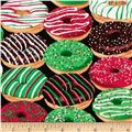 Timeless Treasures Metallic Christmas Donuts Black