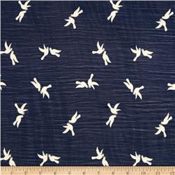 Chiffon Birds Navy/White