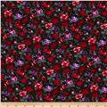 Spring Jersey Knit Floral Black/Red