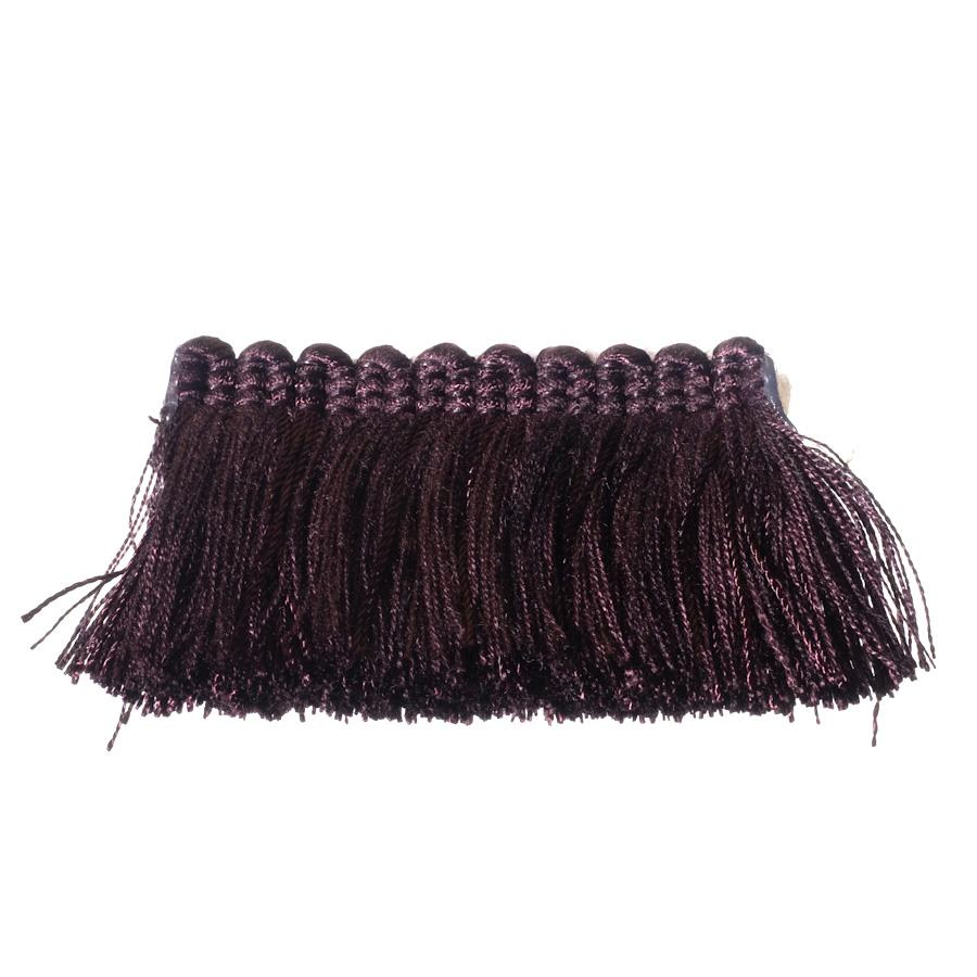 "Fabricut 2"" Everclear Brush Fringe Aubergine"