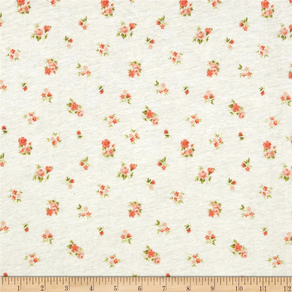 Rayon Jersey Knit Small Floral White/Peach