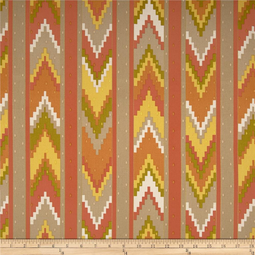 Richloom Marbella Chevron Twill Orange Grove