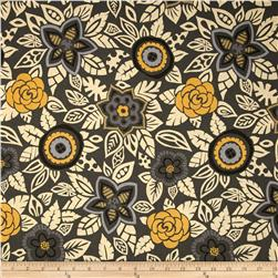 Nomad Packed Floral Grey Fabric