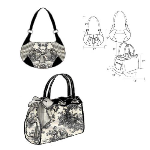 Hot Patterns Handbag Heaven Courtesan Ribbon Tote & Shoulderbag