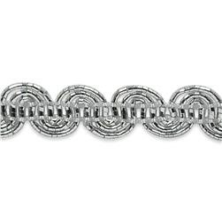 "1/4"" Pia Scroll Braid Trim Roll Silver"