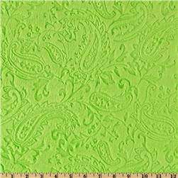 Minky Paisley Cuddle Embossed Dark Lime Fabric