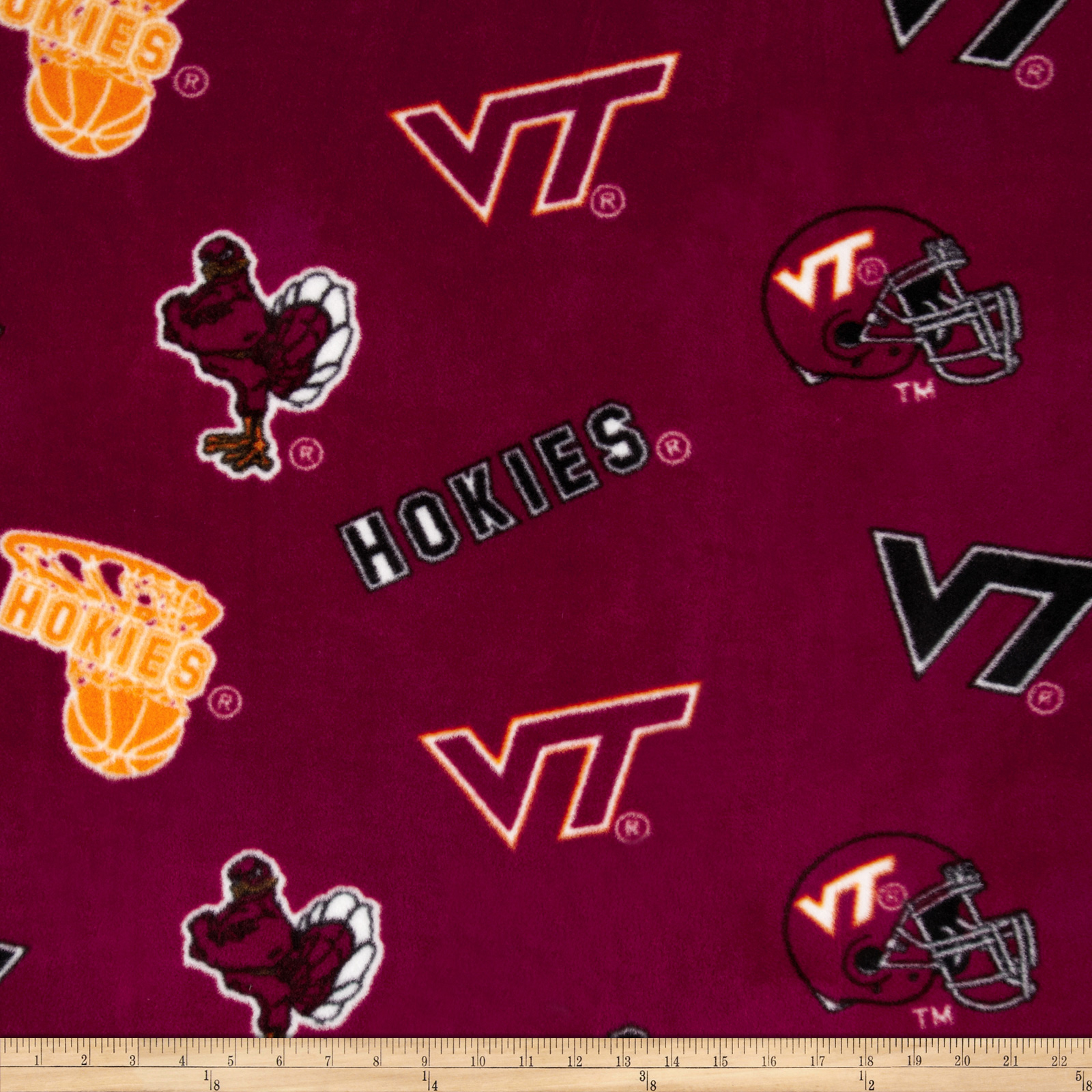 Collegiate Fleece Virginia Tech Crimson Fabric