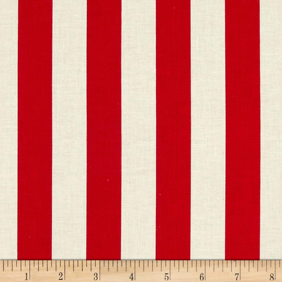 "Riley Blake Le Creme Basics Medium 1"" Stripe Red/Cream"