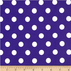 Stretch ITY Jersey Knit Large Dots Purple/White