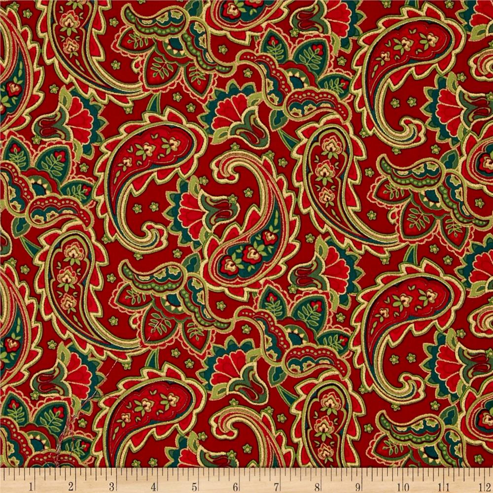 Traditional Poinsettia Metallic Paisley Red