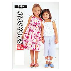 Butterick Children's Dress, Top and Pants Pattern B3889 Size 0A0