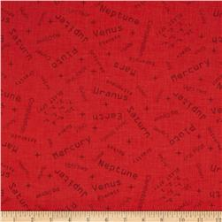 Space Age Words Red Fabric