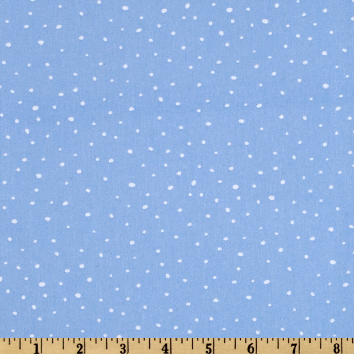Christmas Time Peanuts Dotted Light Blue Fabric