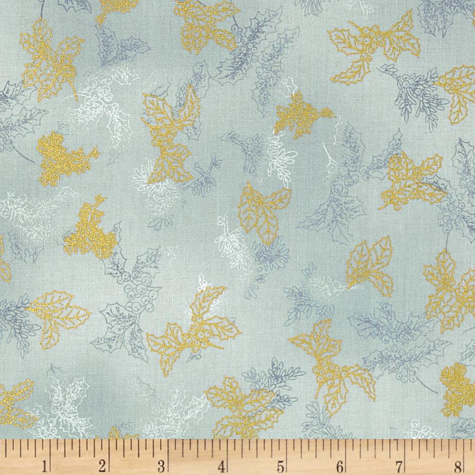 Holiday Flourish 6 Small Leaves Metallic Frost Blue