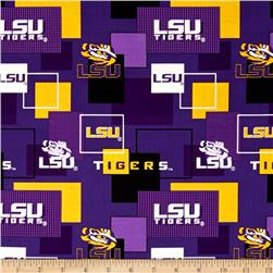Collegiate Cotton Broadcloth Louisiana State University Block Print Purple