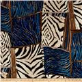 Venice Stretch ITY Knit Abstract Animal Print Blue