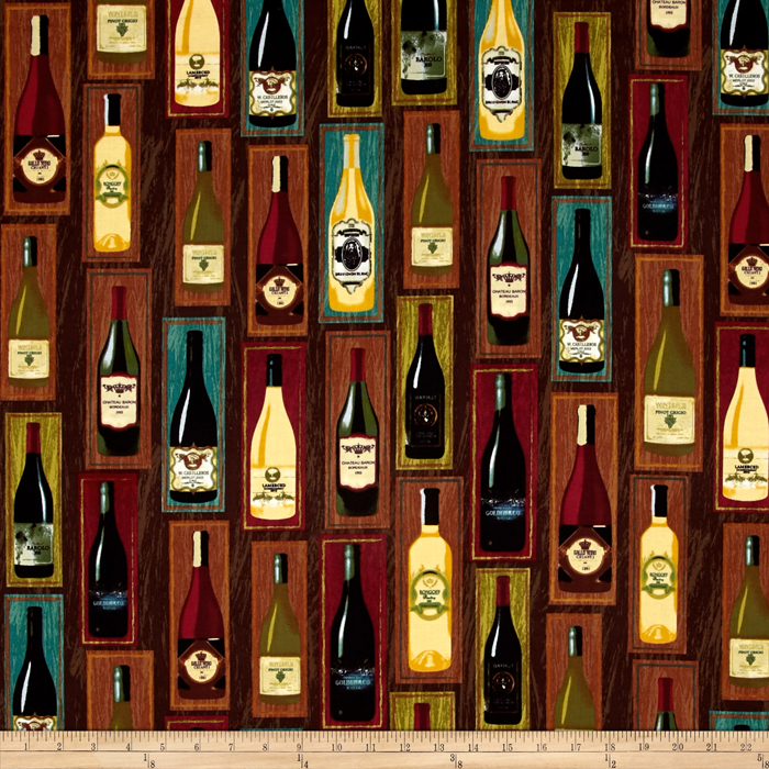 Image of Wine Country Bottles Fabric